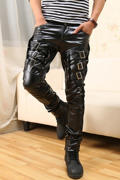 Punk Style Solid Color Buckle Embellished PU Leather Patched Men's Trendy Night Club Black Pencil Pants