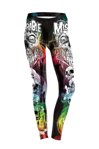 Stylish Halloween Style Elastic Waist Colorful Letter Skull Printed Fitted Legging Pants