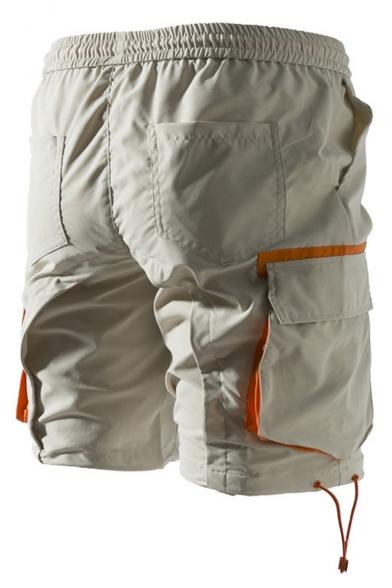 Summer Fashion Graphic Print Flap Pocket Side Drawstring Waist Casual Beach Shorts Cargo Shorts
