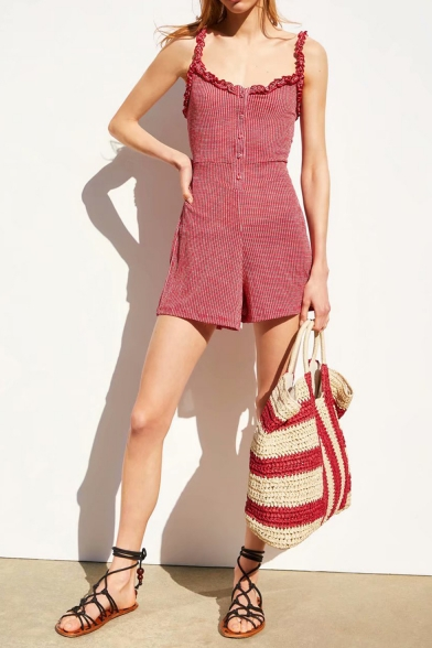 Summer New Arrival Red Check Printed Straps Sleeveless Sweet Womens Jumpsuits