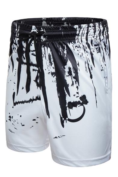 Summer New Stylish Splashing Ink 3D Printed Drawstring Waist Casual Breathable Sports Shorts