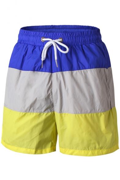 Summer Stylish Color Block Drawstring Waist Loose Beach Shorts Casual Sport Shorts