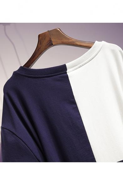 Summer Stylish Plus Size Short Sleeve Colorblock Cat Bow Eyeglass Printed Belt Waist Mini A-Line Dress
