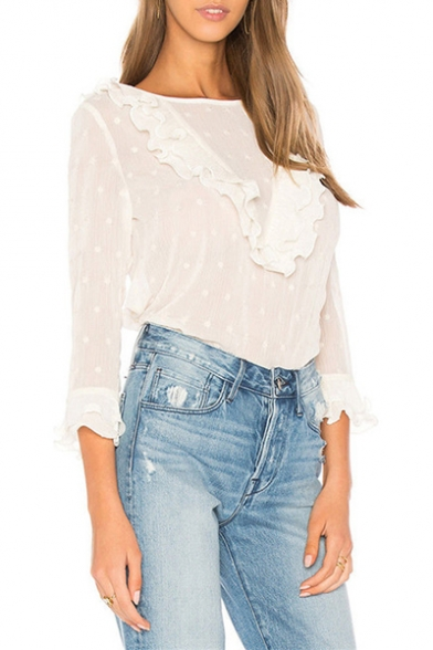 Summer Womens Chic Ruffled Hem Round Neck Long Sleeve Slim Blouse