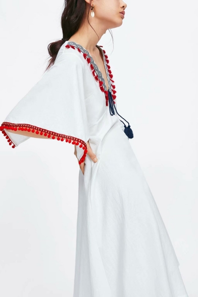 Summer Womens Holiday Fashion Tassel Hem V-Neck Midi A-Line White Dress