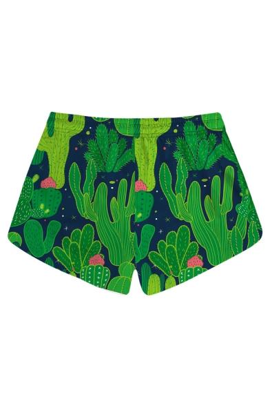 Summer Womens Trendy Green Cactus Printed Drawstring Waist Casual Swimwear Beach Shorts