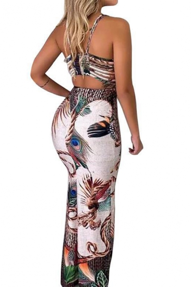 Trendy Halter Neck High Waist Sleeveless Split Peacock Feather Print Fitted Straps Dress