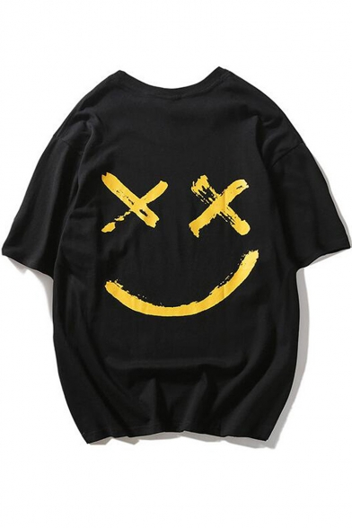Trendy Smile Face Printed Round Neck Oversized T-Shirt