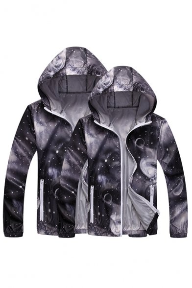 Unique Fashion Galaxy Printed Sun Protection Zip Up Hooded Skin Jacket Coat