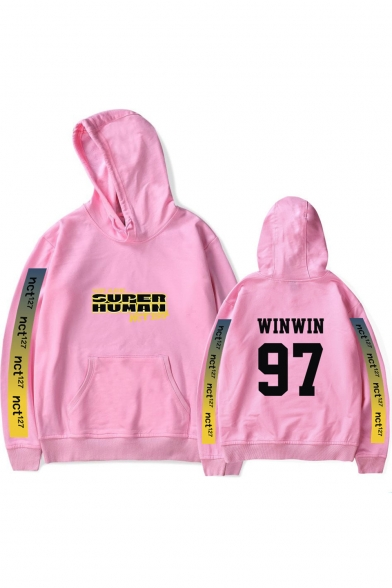 WE ARE SUPERHUMAN Cool Letter Printed Long Sleeve Casual Sport Pullover Hoodie