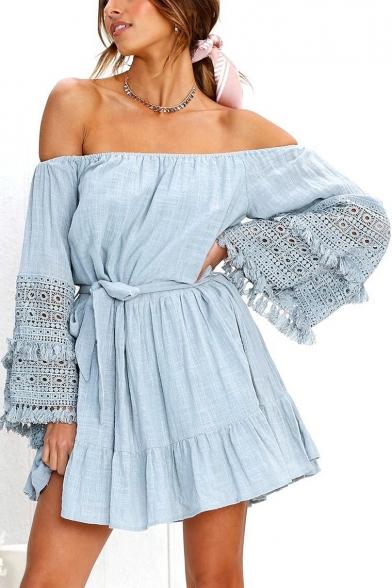 Women's Summer Popular Off the Shoulder Hollow Out Tassel Hem Bell Long Sleeve Tied Waist Mini A-Line Dress