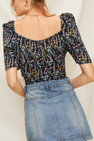 Womens Chic Floral Print Surplice V-Neck Tied Waist Short Sleeve Cropped Cotton Blouse Top