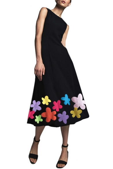 Womens Designer Boutique Chic Floral Embroidery Round Neck Sleeveless Maxi Swing Tank Dress