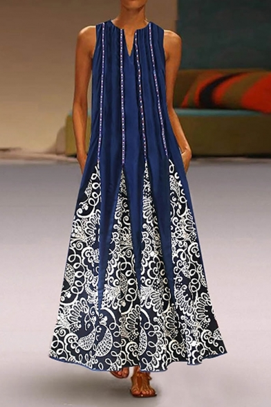Womens Designer Boutique Vintage Floral Printed V-Neck Sleeveless Crinkled Maxi Blue Swing Dress with Pocket
