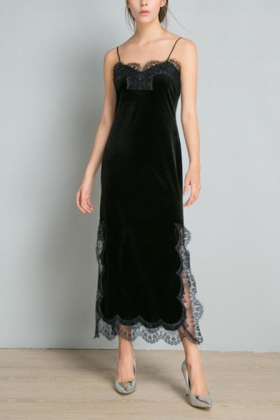 Womens Fancy Black Lace-Trimmed Split Side Maxi Velvet Slip Dress
