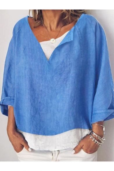 Womens Fashion V Neck Simple Plain Rolled Sleeve leisure Cotton and Linen Blouse