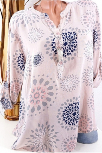 Womens Hot Fashion Circle Print Button V-Neck Long Sleeve Loose Fit Blouse Top