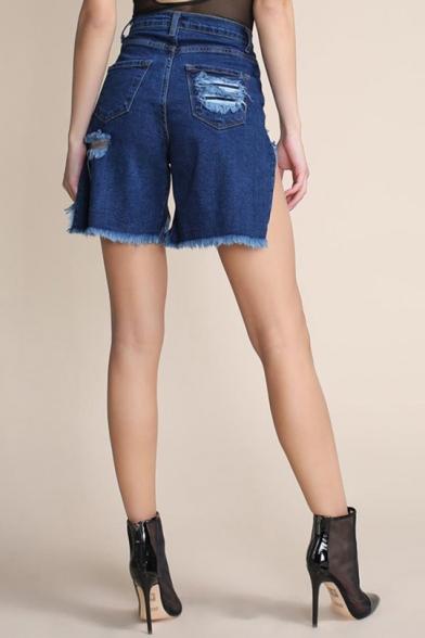 Womens Hot Fashion Distressed Fringed Hem Shredded Slouch Denim Shorts