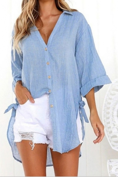 Womens Simple Solid Color Bell Sleeve Tied Side High Low Hem Button Down Casual Shirt
