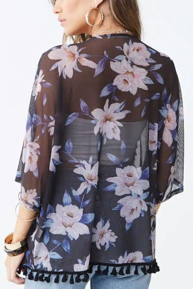 Womens Summer Fancy Floral Printed Tassel Hem Sun Protection Kimono Blouse
