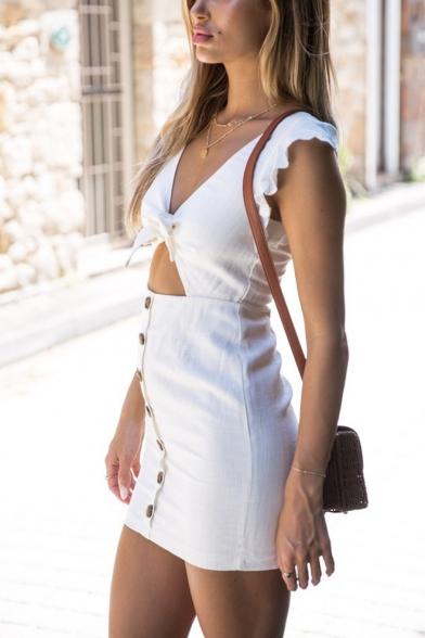 Womens Trendy Plain Knotted V-Neck Cutout Waist Ruffled Sleeve Button Front Mini Bodycon Dress