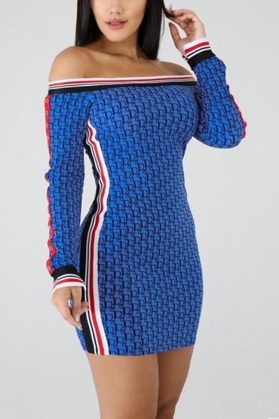 Womens Unique Blue Striped Trim Sexy Off the Shoulder Long Sleeve Mini Bodycon Dress