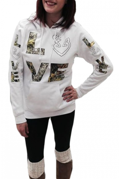 Womens Unique Stylish Letter LOVE Printed Long Sleeve Casual Fitted Hoodie