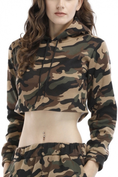 Classic Camo Print Womens Long Sleeve Fashion Cropped Hoodie