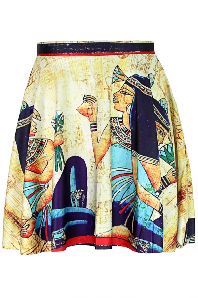 Egyptian Beautiful Queen Painting Fashion Yellow Mini A-Line Pleated Skater Skirt