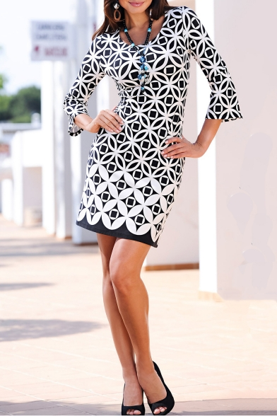 Fashion Black Geometric Floral Printed Round Neck Three-Quarter Sleeve Mini Pencil Dress