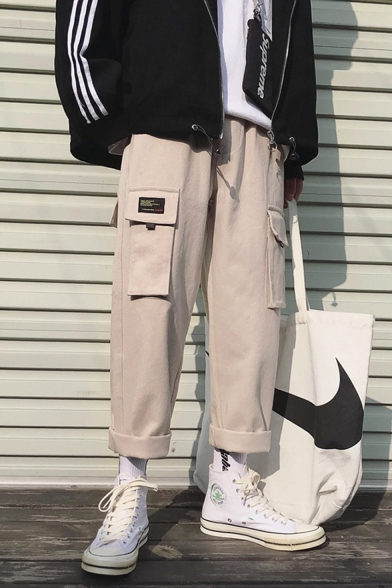 Fashion Letter Patchwork Multi-pocket Rolled Hem Straight-leg Casual Cargo Pants
