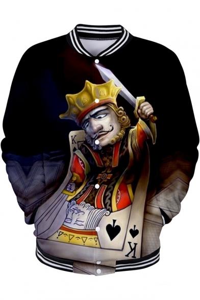 Funny Cool 3D King Poker Card Print Rib Stand Collar Button Down Baseball Jacket