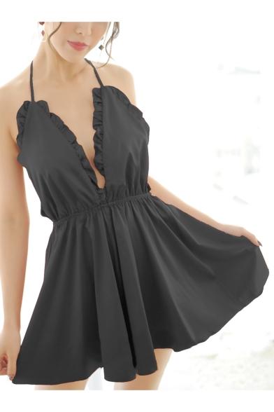 Girls Fashion Ruffled Hem Halter Neck Open Back Plain Mini A-Line Cami Dress for Sleepwear