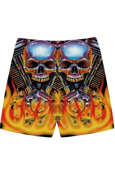 Guys Cool Fashion 3D Skull Printed Drawstring Waist Loose Fit Yellow Casual Shorts