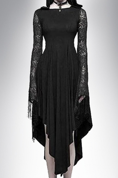 Hot Fashion Womens Cool Black Lace Sleeve Spider Web Cutout Hooded Maxi Asymmetric Dress