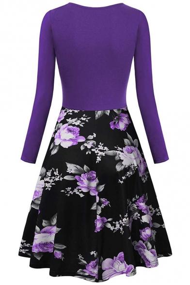 Hot Popular V-Neck Long Sleeve Vintage Floral Print Midi Fit and Flared Dress