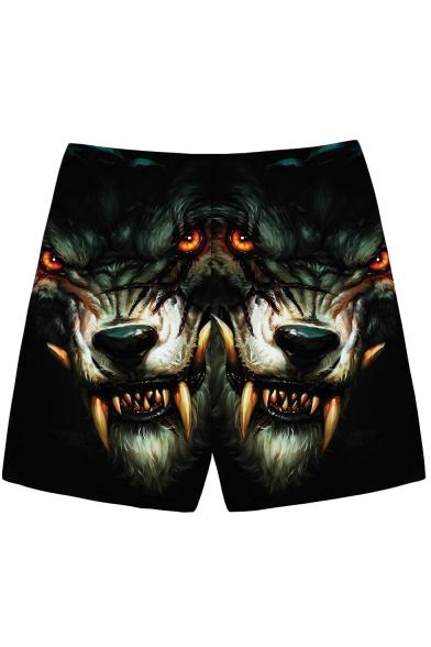 Men's Cool Fashion Creative 3D Wolf Printed Drawstring Waist Black Sports Shorts