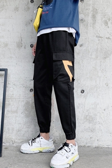 Men's New Fashion Colorblocked Multi-pocket Elastic Cuffs Casual Cargo Pants