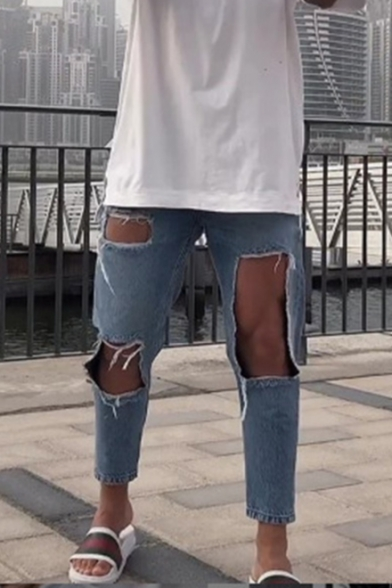 Men's New Fashion Plain Knee Cut Light Blue Ripped Slim Fit Jeans with Big Holes