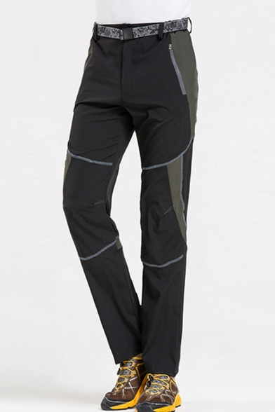 Men's Outdoor Fashion Colorblock Zipped Pocket Waterproof Quick-drying Sports Hiking Pants