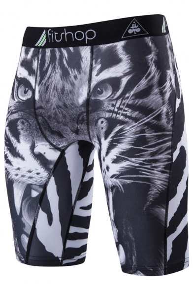 Men's Popular Fashion Sneakers Animal Printed Elastic Quick-drying Fitness Shorts