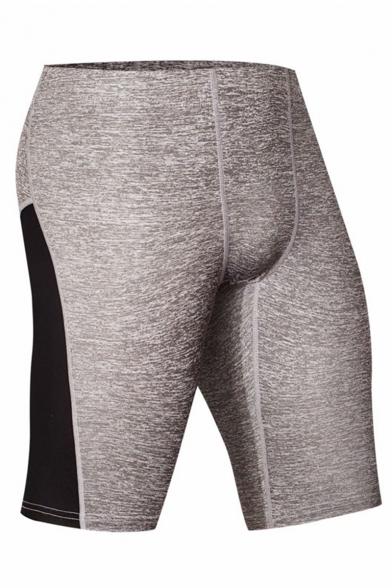 Men's Professional Fashion Colorblock Skinny Fit Training Leggings Sports Shorts