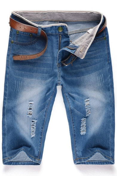 Men's Simple Fashion Vintage Washed Light Blue Zip-fly Ripped Denim Shorts