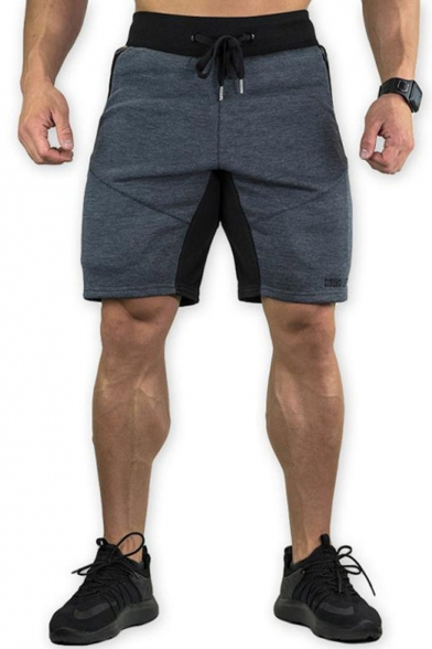 Men's Summer Fashion Colorblock Letter Printed Drawstring Waist Cotton Training Sweat Shorts