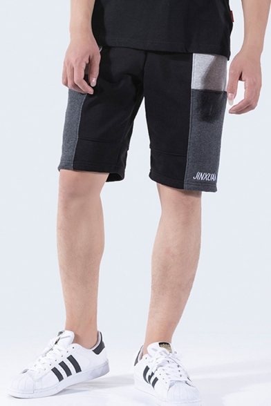 Men's Summer New Fashion Colorblock Letter Embroidery Casual Sweat Shorts
