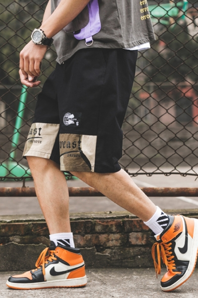Men's Summer New Trendy Camouflage Patched Letter Printed Drawstring Waist Casual Cotton Sports Shorts