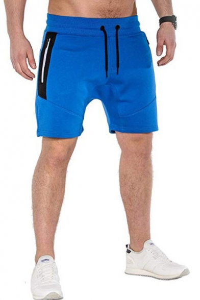 Men's Summer Simple Plain Colorblock Zipped Pocket Drawstring Waist Casual Sports Sweat Shorts