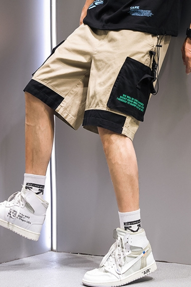 Men's Summer Trendy Colorblock Letter Printed Multi-pocket Design Street Style Casual Cargo Shorts