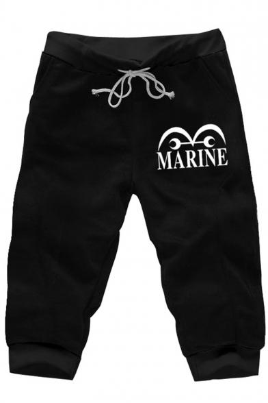 Men's Summer Trendy Letter MARINE Cartoon Printed Drawstring Waist Black Casual Sweat Shorts