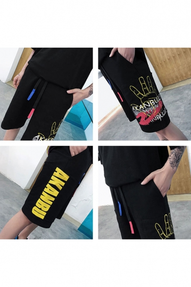 Men's Summer Trendy Letter Palm Printed Drawstring Waist Black Casual Sweat Shorts
